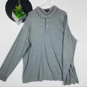 Lands' End Shirts - Lands End Long Sleeve Polo Gray XXL